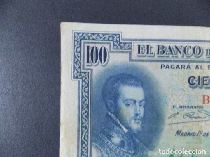 BILLETE DE 100 PESETAS 1925 CON SERIE B ( SELLO EN SECO REPUBLICA ESPAÑOLA) - CALIDAD MBC .... A129 (Numismática - Notafilia - Billetes Españoles)