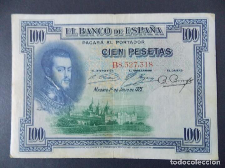 Billetes españoles: BILLETE DE 100 PESETAS 1925 CON SERIE B ( SELLO EN SECO REPUBLICA ESPAÑOLA) - CALIDAD MBC .... A129 - Foto 2 - 136291714