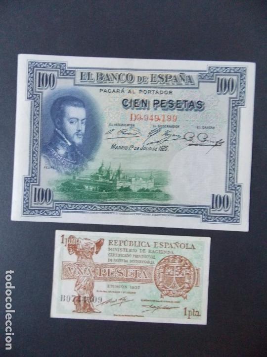 LOTE DE 2 BILLETES DE LA REPUBLICA ESPAÑOLA - CALIDAD EBC + - VER 2 FOTOS - .... A132 (Numismática - Notafilia - Billetes Españoles)