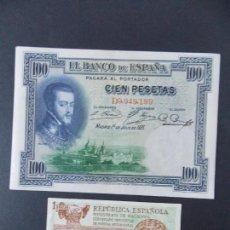 Billetes españoles: LOTE DE 2 BILLETES DE LA REPUBLICA ESPAÑOLA - CALIDAD EBC + - VER 2 FOTOS - .... A132. Lote 136296718