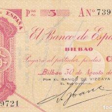 Billetes españoles: BILLETE 5 PESETAS BANCO ESPAÑA EN BILBAO 1936 GUERRA CIVIL EUZKADI SERIE A BANCO VIZCAYA -SC VER FOT. Lote 136391654