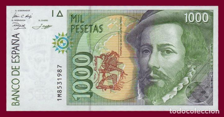 1000 PESETAS DE 1992. BILLETE DE ESPAÑA. ÉPOCA JUAN CARLOS I. HERNÁN CORTES. EBC (Numismática - Notafilia - Billetes Españoles)