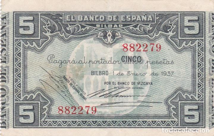 BILLETE 5 PESETAS BANCO ESPAÑA EN BILBAO AÑO 1937. SIN SERIE. EUZKADI. GUERRA CIVIL. BANCO VIZCAYA (Numismática - Notafilia - Billetes Españoles)