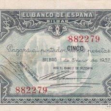 Banconote spagnole: BILLETE 5 PESETAS BANCO ESPAÑA EN BILBAO AÑO 1937. SIN SERIE. EUZKADI. GUERRA CIVIL. BANCO VIZCAYA. Lote 136544654