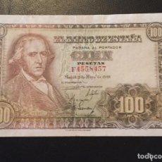 Billetes españoles: 100 PESETAS 1948 FRANCISCO BAYEU SERIE F4558457. Lote 136618150
