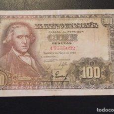 Billetes españoles: 100 PESETAS 1948 FRANCISCO BAYEU SERIE C5555032. Lote 136618530