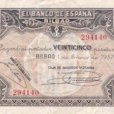 Banconote spagnole: BILLETE 25 PESETAS BANCO DE ESPAÑA EN BILBAO EUZKADI AÑO 1937 GUERRA CIVIL CAJA AHORROS VIZCAINA. Lote 136671894