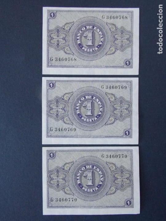 Billetes españoles: TRIO CORRELATIVO BILLETE 1 PESETA ABRIL DE 1938 CON SERIE G - CALIDAD SC , VER 2 FOTOS - A153 - Foto 2 - 137124322