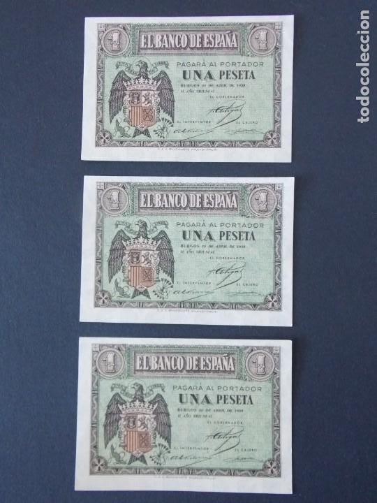 TRIO CORRELATIVO BILLETE 1 PESETA ABRIL DE 1938 CON SERIE G - CALIDAD SC , VER 2 FOTOS - A153 (Numismática - Notafilia - Billetes Españoles)