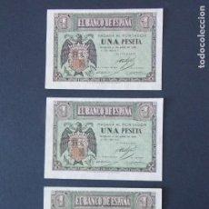 Billetes españoles: TRIO CORRELATIVO BILLETE 1 PESETA ABRIL DE 1938 CON SERIE G - CALIDAD SC , VER 2 FOTOS - A153. Lote 137124322