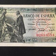 Billetes españoles: 5 PESETAS 1945 CAPITULACIONES SERIE B2684594. Lote 137194322