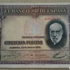 Billetes españoles: BILLETE 50 PESETAS. 1935. MBC.. Lote 137218340