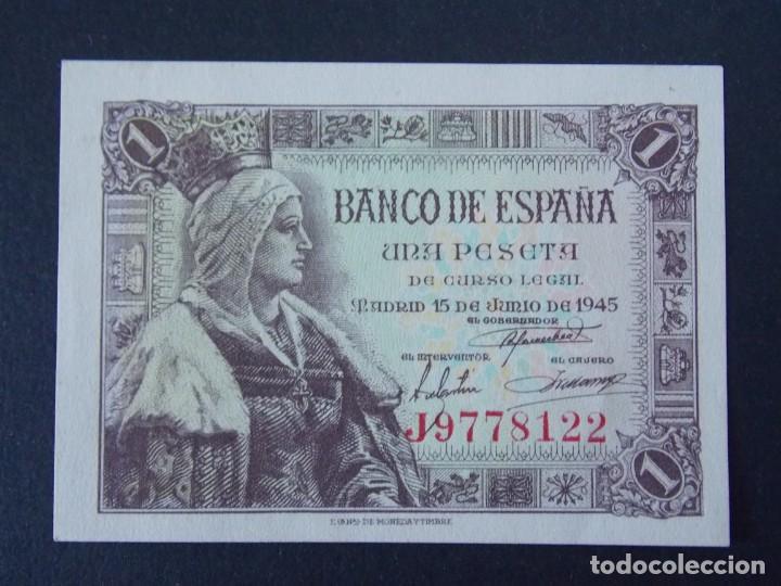 BILLETE DE 1 PESETA AÑO 1945 ( ISABEL LA CATOLICA) CON SERIE J - CALIDAD SC .... A160 (Numismática - Notafilia - Billetes Españoles)