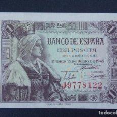 Billetes españoles: BILLETE DE 1 PESETA AÑO 1945 ( ISABEL LA CATOLICA) CON SERIE J - CALIDAD SC .... A160. Lote 137239774