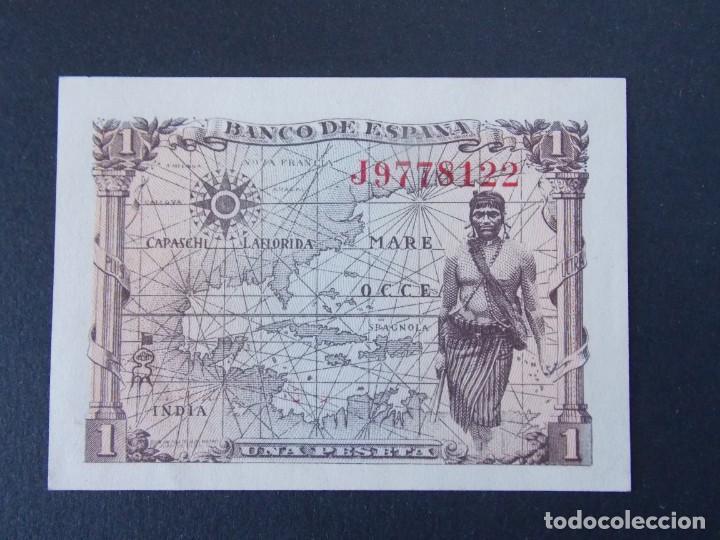Billetes españoles: BILLETE DE 1 PESETA AÑO 1945 ( ISABEL LA CATOLICA) CON SERIE J - CALIDAD SC .... A160 - Foto 2 - 137239774