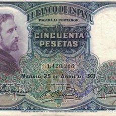 Billetes españoles: BILLETE 50 PESETAS. Lote 137442682