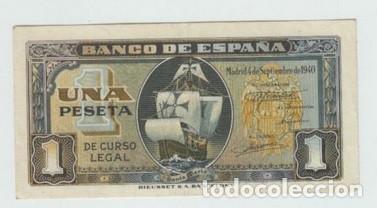 BILLETE ESPAÑA - 1 PESETA AÑO 1940 CARABELA - EBC- (Numismática - Notafilia - Billetes Españoles)