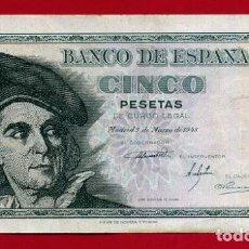 Billetes españoles: BILLETE 5 PESETAS MARZO 1948 , MBC , SERIE J , ORIGINAL , T665. Lote 138011854