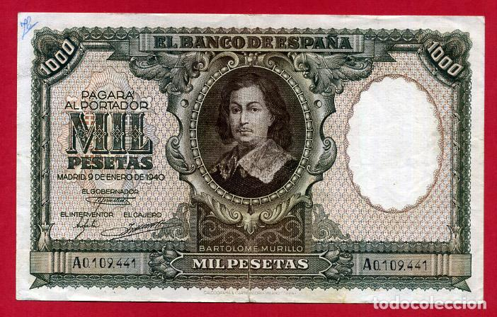 BILLETE 1000 PESETAS ENERO 1940 , MBC , SERIE A , ORIGINAL , T441 (Numismática - Notafilia - Billetes Españoles)