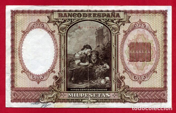 Billetes españoles: BILLETE 1000 PESETAS ENERO 1940 , MBC , SERIE A , ORIGINAL , T441 - Foto 2 - 138028270