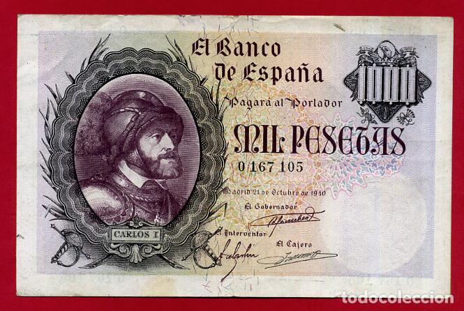 BILLETE 1000 PESETAS OCTUBRE 1940 , MBC+ , SIN SERIE , ORIGINAL , T105 (Numismática - Notafilia - Billetes Españoles)