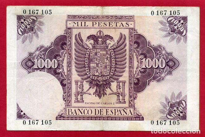 Billetes españoles: BILLETE 1000 PESETAS OCTUBRE 1940 , MBC+ , SIN SERIE , ORIGINAL , T105 - Foto 2 - 138029174
