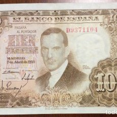 Billetes españoles: 100 PESETAS 1953. MBC. SERIE D. Lote 138664702