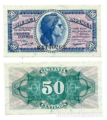 ESPAÑA, SIN CIRCULAR, 50 CÉNTIMOS, SERIE B, 1937, HNOS GUERRA 416 (Numismática - Notafilia - Billetes Españoles)