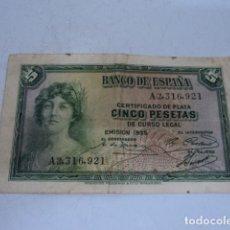 Billetes españoles: BANCO DE ESPAÑA BILLETE CINCO PESETAS 1935 . Lote 138976978