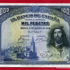 Billetes españoles: BILLETE 1000 PESETAS 1928 , EBC+ , SIN SERIE , ORIGINAL , T041. Lote 139183538