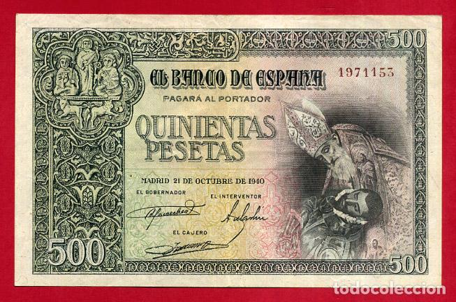 BILLETE 500 PESETAS OCTUBRE 1940 , MBC+ , SIN SERIE , ORIGINAL , T153 (Numismática - Notafilia - Billetes Españoles)