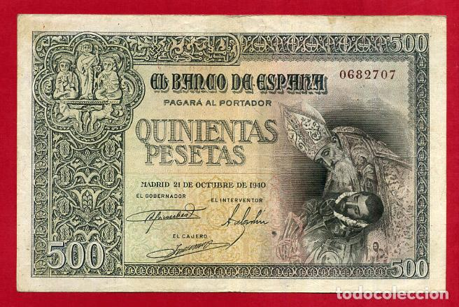 BILLETE 500 PESETAS OCTUBRE 1940 , MBC+ , SIN SERIE , ORIGINAL , T707 (Numismática - Notafilia - Billetes Españoles)