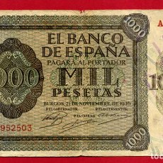 Billetes españoles: BILLETE 1000 PESETAS 1936 , MBC , SERIE A , ORIGINAL , T503. Lote 139186322