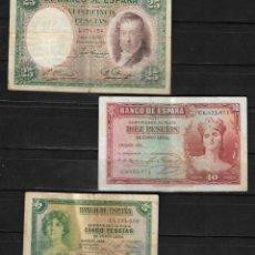 Billetes españoles: LOTE DE TRES BILLETES DE 5, 10, Y 25 PESETAS DE 1935 Y 1931. . Lote 139409118