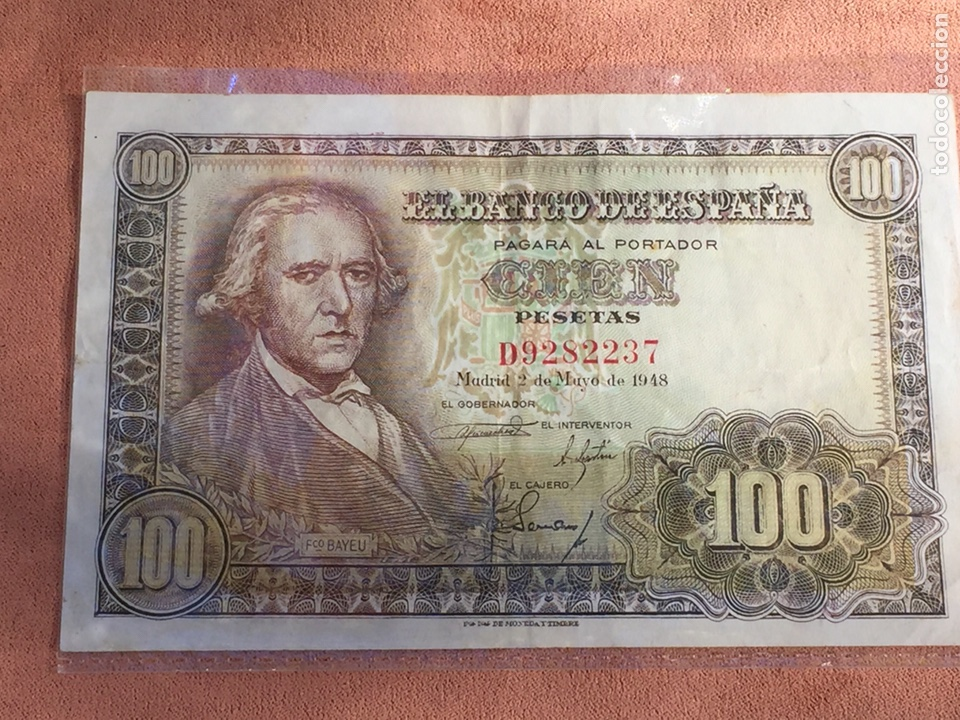 BILLETE 100 PESETAS 1948 BAYEU MBC- ENVÍO GRATIS (Numismática - Notafilia - Billetes Españoles)