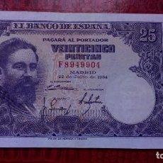 Billetes españoles: 25 PESETAS 1954 EBC- (SERIE F) . Lote 139812522