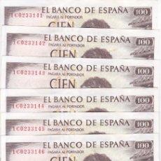 Billetes españoles: LOTE DE 10 BILLETES CORRELATIVOS DE 100 PESETAS DEL AÑO 1965 SERIE 1C EN CALIDAD EBC (BECQUER). Lote 139815590