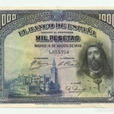 Billetes españoles: BILLETE DE 1000 PESETAS DE 15 DE AGOSTO DE 1928, SIN LETRA DE SERIE. LOTE 0918. Lote 140463734