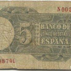 Billetes españoles: 5 PESETAS DE 1948 SERIE N00588749, ULTIMA, NUMERO BAJISIMO. Lote 140463802