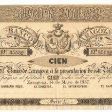 Billetes españoles: BILLETE BANCO ZARAGOZA - 100 REALES DE VELLÓN - 1857. LOTE 0919. Lote 140465010