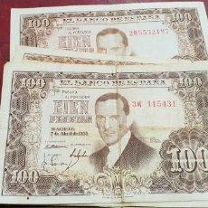 Billetes españoles: LOTE DE 7 BILLETES DE 100 PESETAS DE 1953 JULIO ROMERO DE TORRES. Lote 140471890