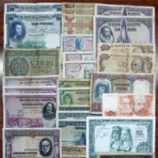 Billetes españoles: 30 BILLETES DE ALFONSO XIII, 2ª REPUBLICA, ESTADO ESPAÑOL Y JUAN CARLOS I. LOTE 0920. Lote 140472086