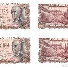 Billetes españoles: DOS BILLETES CORRELATIVOS DE 100 PESETAS, AÑO 1970. MANUEL DE FALLA. SERIE ESPECIAL 9C. SIN CIRCULAR. Lote 140507190