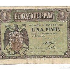 Billetes españoles: 1 PESETAS ABRIL 1938 BURGOS. Lote 140523882