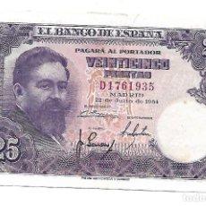 Billetes españoles: 25 PESETAS 1954 EBC. Lote 140524238