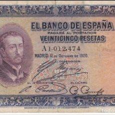Billetes españoles: ¡¡OFERTA!! BILLETE DE 25 PTAS DEL AÑO 1926 FCO. XAVIER SERIE A. Lote 140919158