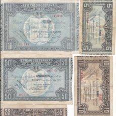 Billetes españoles: ¡¡OFERTA!! LOTE DE 5 BILLETES DEL BANCO DE ESPAÑA-BILBAO AÑO 1937. Lote 140919786