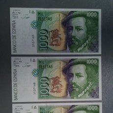 Billetes españoles: LOTE 4 BILLETES ESPAÑA 1000 MIL PESETAS 1992 NUMERACIÓN SEGUIDA NO CIRCULADOS. Lote 140939609