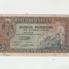 Billetes españoles: 5 PESETAS- 4 DE SETIEMBRE DE 1940. Lote 141440058
