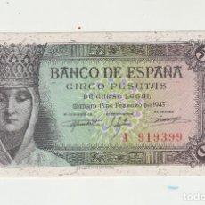 Billetes españoles: 5 PESETAS- 13 DE FEBRERO DE 1943-SC. Lote 141440170